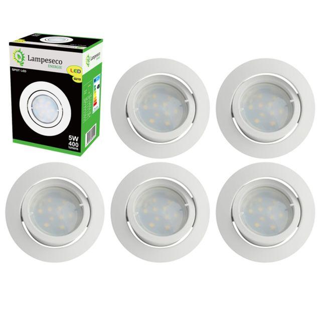 Lampesecoenergie Lot de 6 Spot Led Encastrable Complete Blanc Orientable lumiere Blanc Neutre eq. 50W ref.888