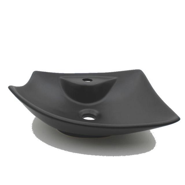 Vasque à Poser avec Plage de robinetterie - Céramique Noir Mat - 49x38 cm -  Feuille