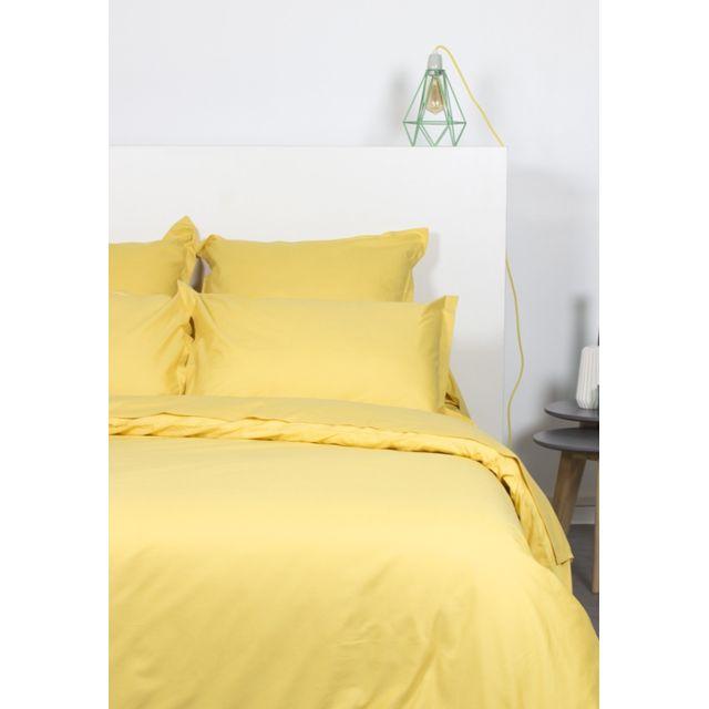 Comptoir Des Tisseurs - Parure de lit 200x200 cm 100% coton jaune
