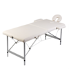 Rocambolesk - Superbe Table de Massage Pliante 2 Zones Crème Cadre en Aluminium Neuf
