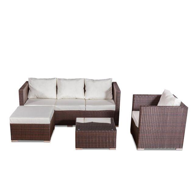 CONCEPT USINE - Nevala marron/blanc : salon de jardin 6 ...