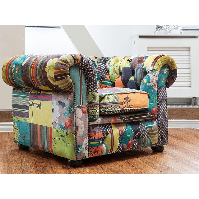 Beliani Fauteuil en tissu jaune - fauteuil design patchwork - Chesterfield