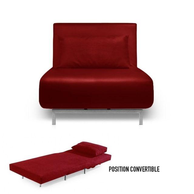 meubler design fauteuil convertible obadia simili cuir rouge pas cher achat vente. Black Bedroom Furniture Sets. Home Design Ideas
