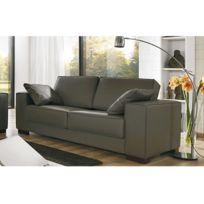 Canapé 2 places pieds bois avec ses 2 coussins - coloris chocolat