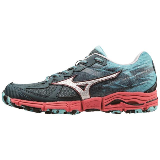 Mizuno wave kazan 2 bleue et rouge chaussures de <strong>trail</strong> femme