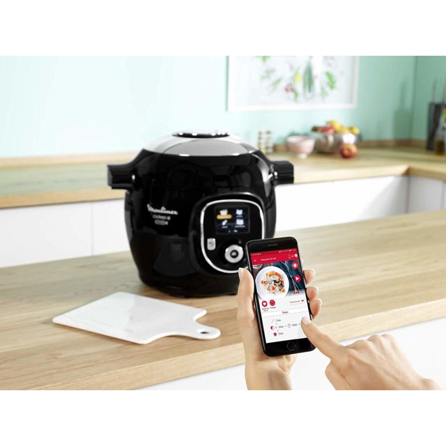 MOULINEX Multicuiseur Intelligent Connect Via Application Bluetooth de 6L avec 6 Modes de Cuisson 1600W gris noir