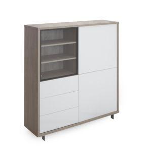 alin a enzo buffet haut coloris ch ne structur blanc laqu pas cher achat vente buffets. Black Bedroom Furniture Sets. Home Design Ideas