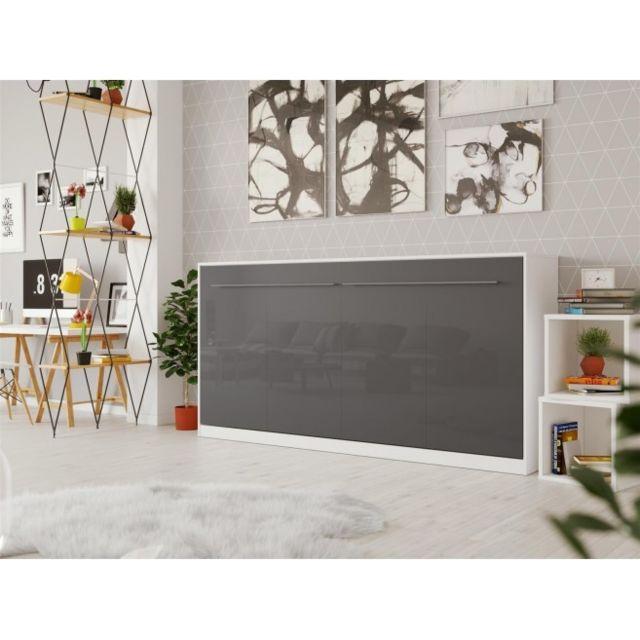 Smartbett Lit escamotable Standard 90x200 horizontal blanc/anthracite devant brillant avec ressort pneumatique