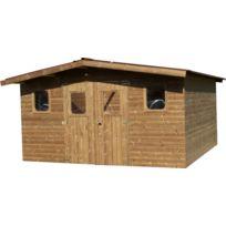 Habrita - Abri Thermabri madriers sans plancher, toit double pente 15,14 m²