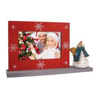 Zep - Cadre Photo Rouge/gris Décoration bonhomme de neige avec Socle pour photo 10 x 15 cm