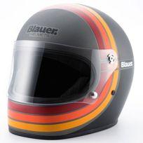 Blauer - casque intégral Fibre moto scooter 80's titane noir mat M