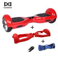 COOL AND FUN - COOL&FUN Hoverboard, Scooter électrique Auto-équilibrage,gyropode 6,5 pouces Rouge + Housse de Protection Rouge + Sac de transport