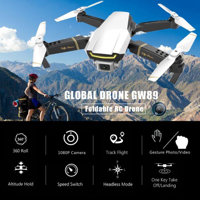 Generic Global Drone Gw89 Drone Rc avec caméra 1080P Wifi Fpv Geste Photo Vidéo Altitude Hold Quadricoptère Rc pliable avec 2 pi