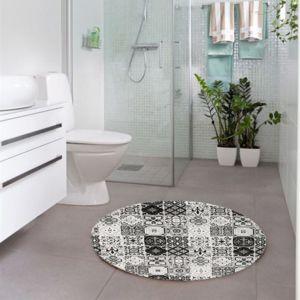 mon beau tapis tapis rond motifs carreaux de ciment noir. Black Bedroom Furniture Sets. Home Design Ideas