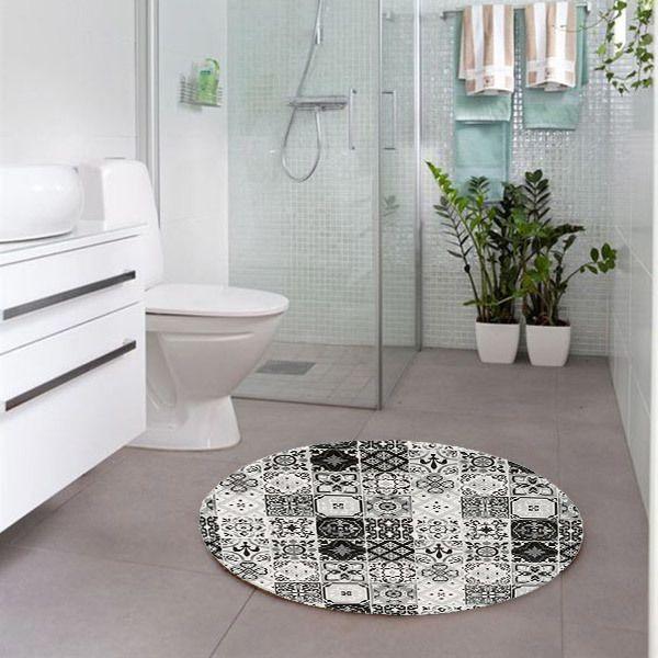 thedecofactory tapis rond motifs carreaux de ciment noir. Black Bedroom Furniture Sets. Home Design Ideas