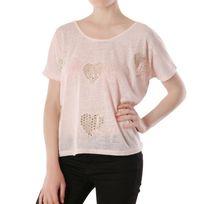 Lamodeuse - T-shirt empiècement cœur pailleté rose