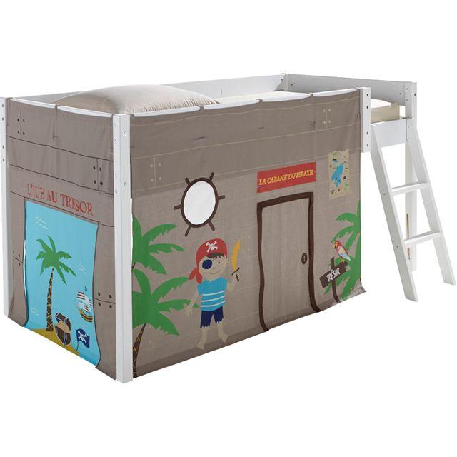 Alinéa   Pirate Tente Pour Lit Enfant Mi Haut 90x190 Ou 90x200cm   Pas Cher  Achat / Vente Rideaux Douche   RueDuCommerce