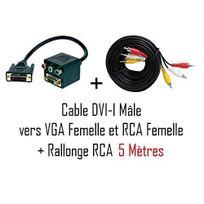 Cabling - Pack Cable Dvi-i M vers Vga + 3 Rca F/F + cable Rca 5 mètres