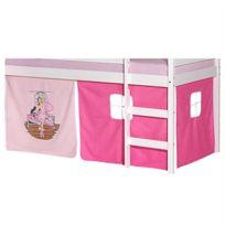 IDIMEX - Lot de rideaux cabane pour lit surélevé superposé mi-hauteur mezzanine tissu coton motif danseuse rose
