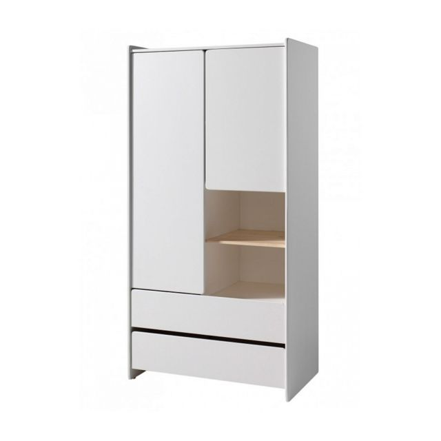 Vipack Armoire 2 portes 2 tiroirs pin massif laqu? blanc Scandinave Kiddy