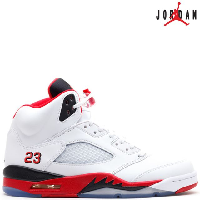 competitive price 8eb23 c3e3e ... Nike Air 5 Retro V 136027-120 Fire Red 23 whitefire red-blackAir 100%  authentique Rouge - 46 - pas cher Achat  Vente Baskets homme -  RueDuCommerce