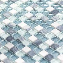 Capri - Mosaïque Marbre et verre Ocean Color blanche grise bleue