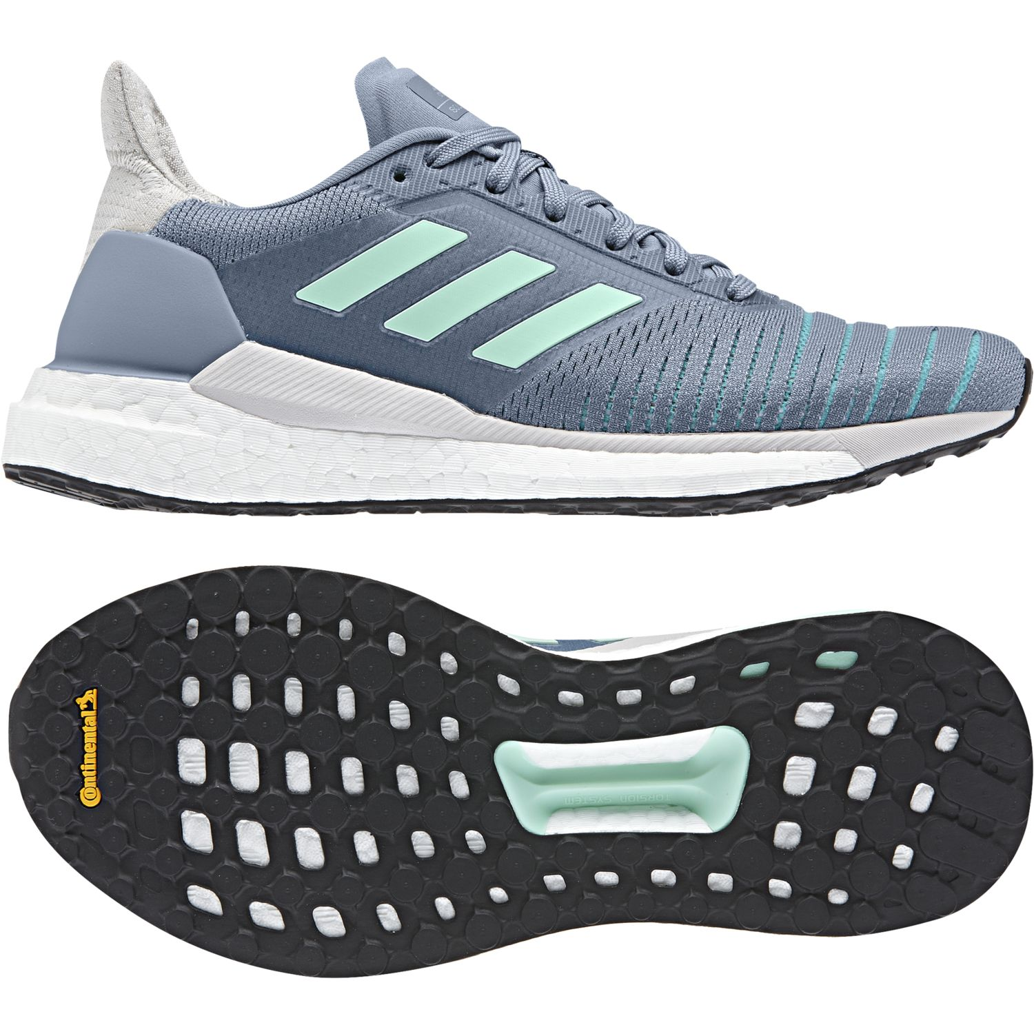 Adidas - Chaussures femme Solar Glide gris/vert turquoise/vert turquoise - pas cher Achat / Vente Chaussures running