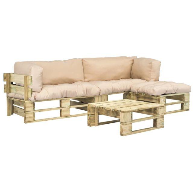 Canapés de jardin palette 4 pcs Coussins sable Bois Fsc | Beige -  Meubles/Meubles de jardin/Ensembles de meubles d\'extérieur | Beige | Beige