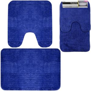 promobo set duo ensemble tapis de salle de bain contour wc bleu pas cher achat vente tapis. Black Bedroom Furniture Sets. Home Design Ideas