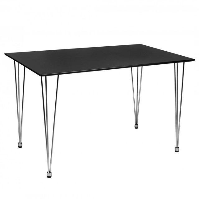 Comforium table manger 120x76 cm en mdf avec un pi tement en chrome coloris noir collection for Carrefour table a manger