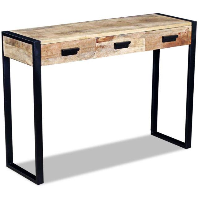 Stylé Consoles gamme Palikir Table console avec 3 tiroirs Bois de manguier 110 x 35 x 78 cm