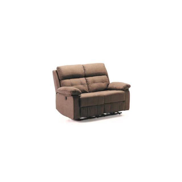 Sans Marque Fargo Canape 2 Places 2 Relax Electriques - Tissu Marron - L 138 X P 93 X H 101 Cm