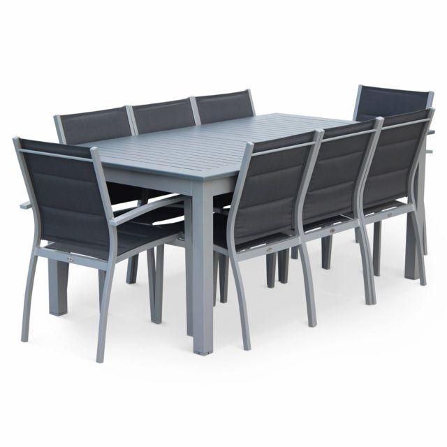 ALICE'S GARDEN - Chicago Gris foncé structure grise - Salon de jardin 8 places table à rallonge extensible 175/245cm alu gris textilène gris Gris/Gris foncé