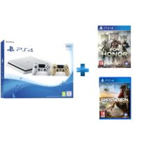 SONY - Playstation 4 Slim 500 Go Blanche + Dualshock 4 Gold + FOR HONOR - PS4 + GHOST RECON WILDLANDS - PS4