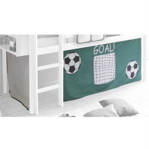 idimex rideaux pour lit superpos lit sur lev cabane tente coton motif foot vert et blanc. Black Bedroom Furniture Sets. Home Design Ideas