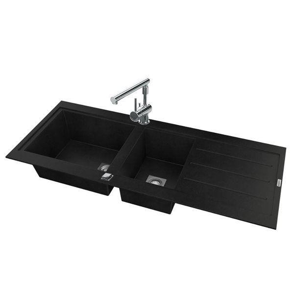 g n rique evier de cuisine reversible encaster 2 cuves en r sine min rale composite noir. Black Bedroom Furniture Sets. Home Design Ideas