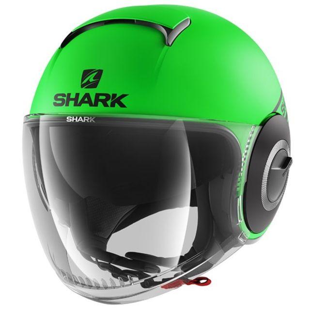 Shark Casque Jet Moto Scooter Nano Street Neon Gkk Vert Noir Mat