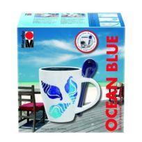 "No Name - Marabu Peinture Porcelaine, Set De Tasses ""OCEAN Blue"