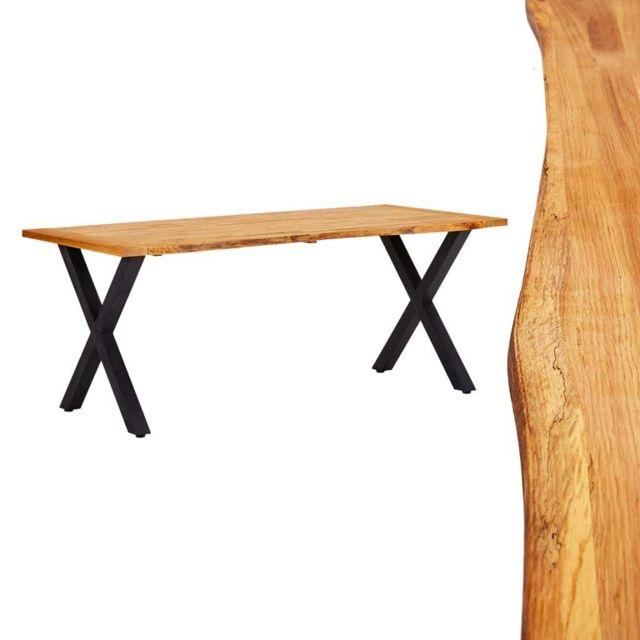 Stylé Tables famille Bruxelles Table de salle à manger Naturel 180x90x75 cm Bois chêne massif