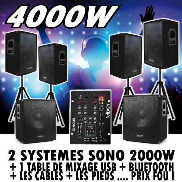 Ibiza Sound Pack sono amplifié 4000w - table de mixage djm 150 usb
