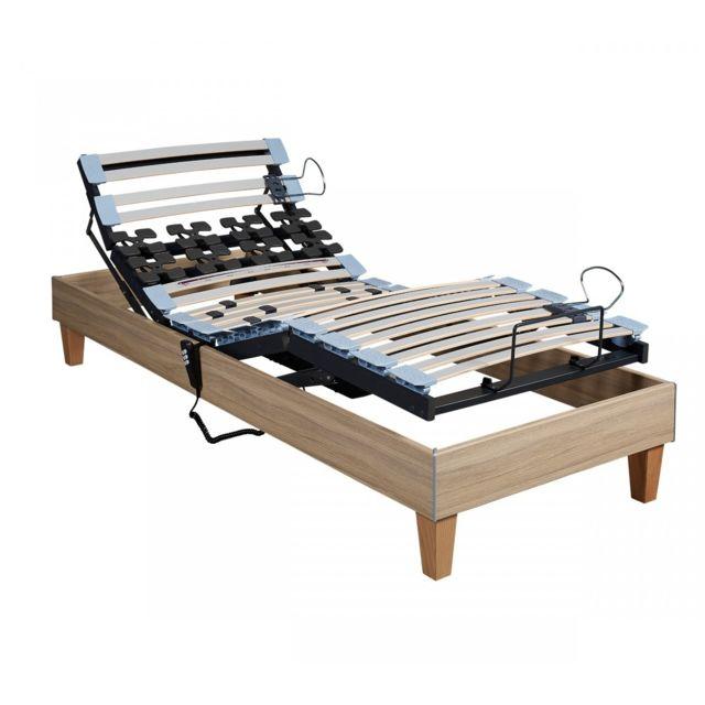 someo sommier lectrique tpr 50 d cor ch ne clair 2x80x200 bois naturel pas cher achat. Black Bedroom Furniture Sets. Home Design Ideas