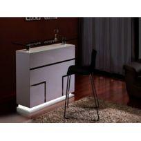 Vente-unique - Meuble de Bar Luminescence - Mdf laqué blanc & verre trempé 12 mm - Leds