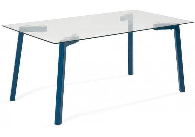 Declikdeco - Table Basse en verre et métal bleu Shack 105cm x 55cm x 46cm