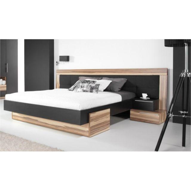 HOUSE AND GARDEN Lit Design noir 160x200 Avec 2 chevets