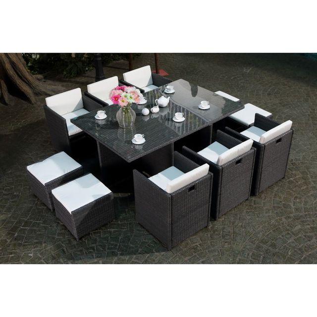rocambolesk magnifique salon de jardin florida 10 noir blanc salon encastrable 10 personnes. Black Bedroom Furniture Sets. Home Design Ideas
