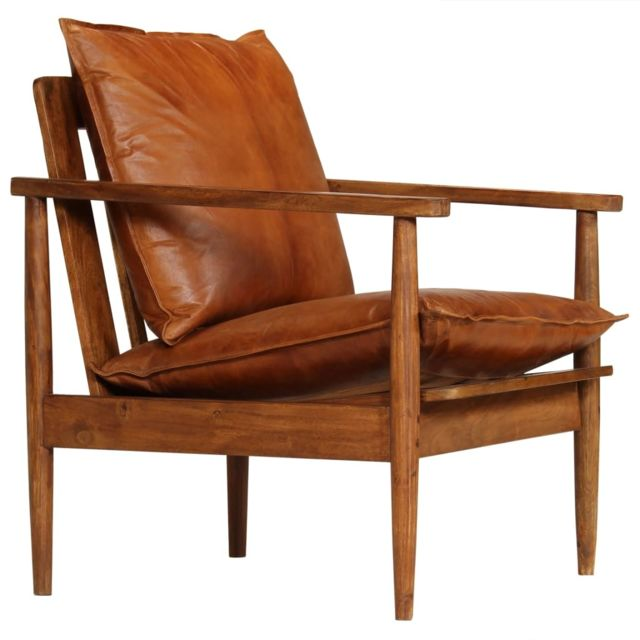 Vidaxl Fauteuil Cuir véritable avec Bois d'acacia Marron | Brun - Fauteuils - Fauteuils club, fauteuils inclinables et chauffeu