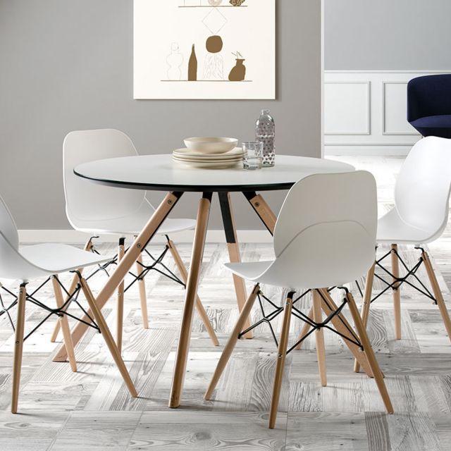 Sofamobili Table ronde scandinave blanche et bois Ildra