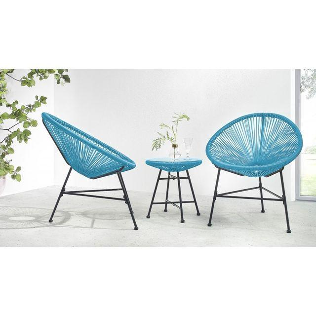 Bobochic - Salon de jardin Acapulco 2 fauteuils oeuf + table basse ...