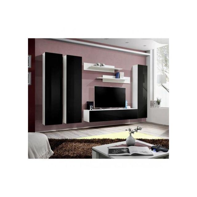 Price Factory Meuble Tv Fly C1 Design Coloris Blanc Et Noir