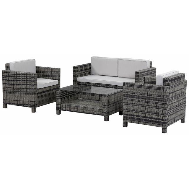 habitat et jardin salon de jardin r sine tress e ottawa florida gris pas cher achat. Black Bedroom Furniture Sets. Home Design Ideas